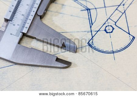 Very Detailed Mechanical Engineering Blueprint With Gauge / Calliper