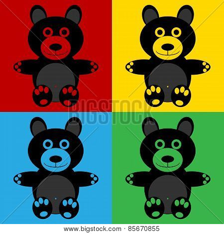 Pop Art Bear Symbol Icons.