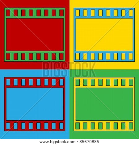 Pop Art Film Strip Symbol Icons.