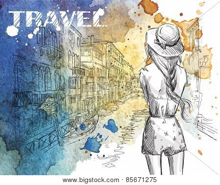 fashion illustration. Girl on a Venice canal background