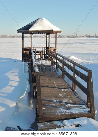Wooden Arbour At Winter