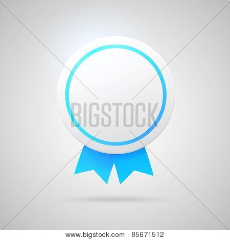 Round vector award with blue ribbons