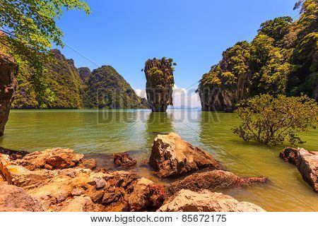 Whimsical island in the Andaman Sea. James Bond Island. Wonderful holiday in Thailand