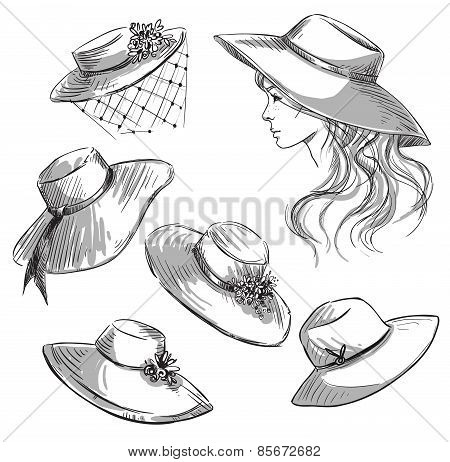 Set of hats. Girl in a hat. Fashion illustration