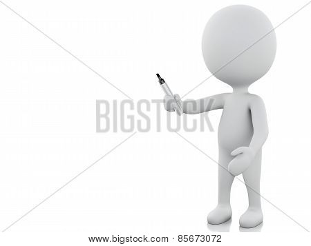 3d white person with Marker.