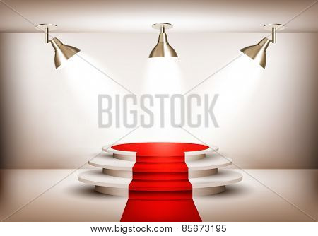 Showroom with red carpet leading to a podium and three lights. Vector