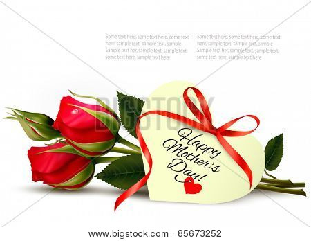Two red roses with a heart-shaped Happy Mother's Day note and red ribbon. Vector.