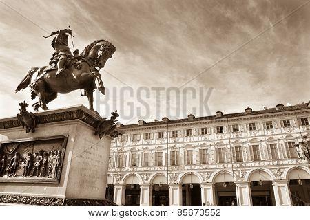 San Carlo Square, Turin, Italy - Monochrome