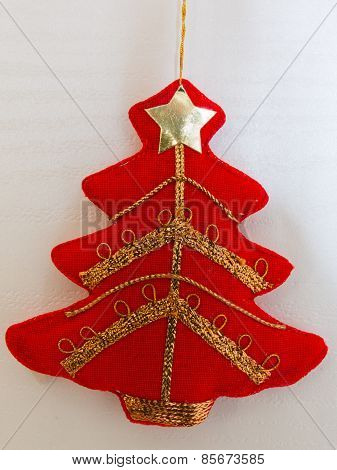 Red Christmas Tree Textile Decoration