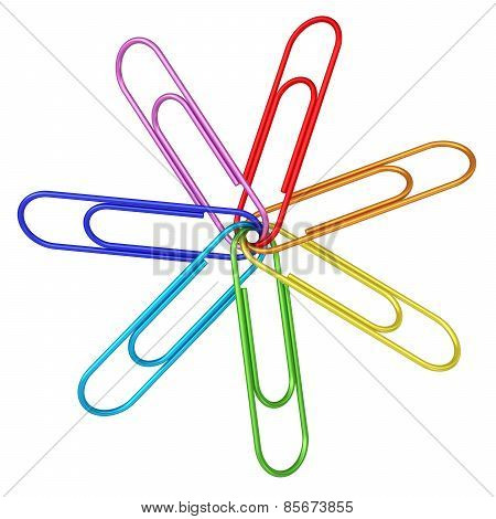Colorful Paper Clips Chained Together On White