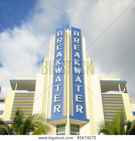 Art Deco Style Building Breakwater in Miami Beach, Miami, Florida, USA.