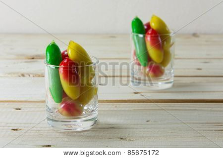 Delectable Imitation Fruits On Woodedn Table, Thai Traditional Dessert.
