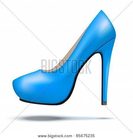 Blue bright modern high heels pump woman shoes
