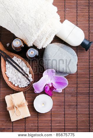 Spa Still Life With Aroma Oils , Hand Made Soap And Vanilla Pods.
