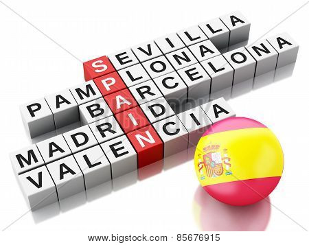 3d Spain country concept. Crossword with letters