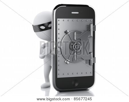 3d Smartphone with safe door. Mobile security concept.