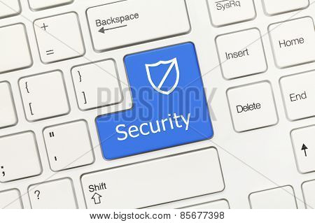 White Conceptual Keyboard - Security (blue Key With Shield)