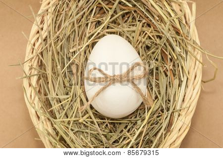 easter egg with bow knot in basket