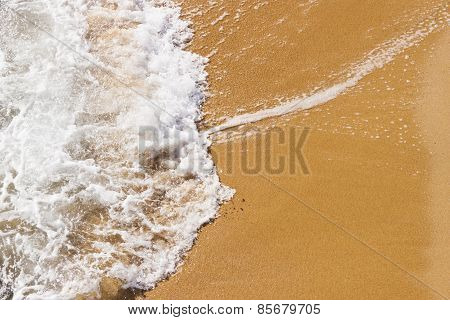 Wave In The Sand Of The Beach Background