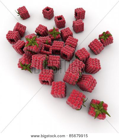 3D rendering of cubic raspberries over a white background