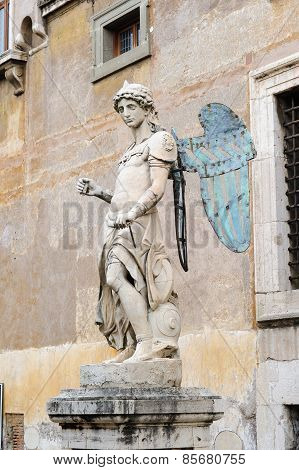 Rome, Italy - January 27, 2010: Statue Of Saint Michael