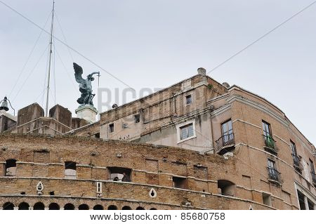 Rome, Italy - January 27, 2010: Statue Of Michael The Archangel