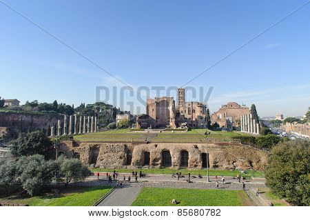 Rome, Italy - January 21, 2010: Whole View Of Foro Romano