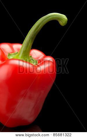 Studio Shot Of Red Bell Pepper Isolated Black Background