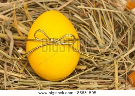 yellow egg with bow knot on hay background
