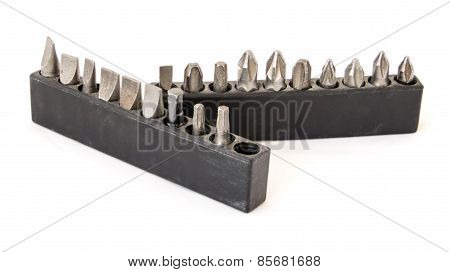 Bits for the screwdriver isolated