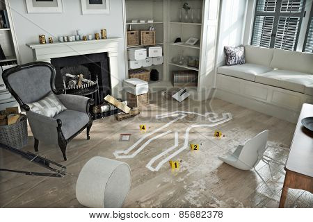 Home invasion , crime scene in a wrecked furnished home. Photo realistic 3d scene.
