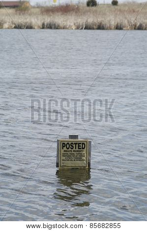 Flooded Tresspass Sign