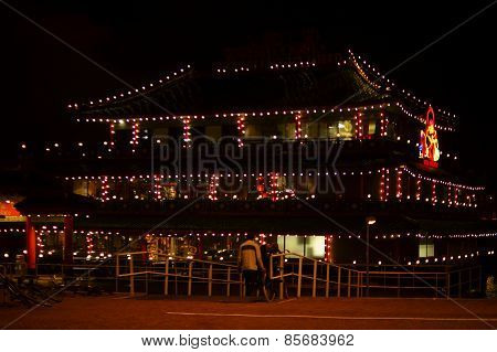 Chinese restaurant with fairy lights