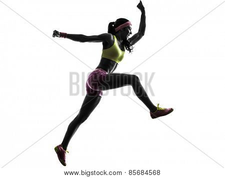 one woman runner running jumping shouting in silhouette on white background