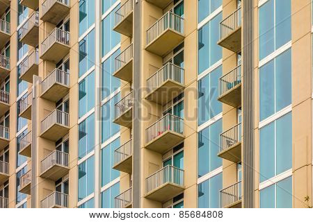 Balconies Array On An Apartment Building