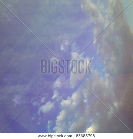 Fog And Clouds On A Vintage Textured Paper Vector Background, With Grunge Stains. Color Gradient