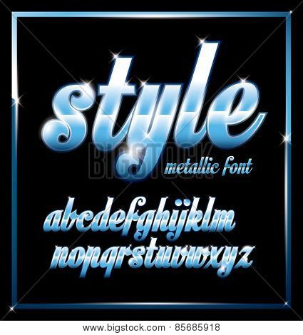 Vector of stylish metallic alphabets