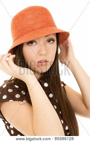 Sultry Asian American Teen Girl Wearing Orange Hat