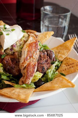 Mexican nachos with grilled chicken