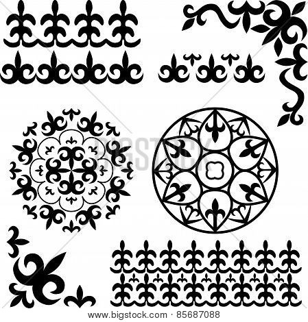 Set Kazakh Asian Ornaments