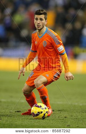 BARCELONA - FEB, 8: Jose Gaya of Valencia CF during spanish League match against RCD Espanyol at the Estadi Cornella on February 8, 2015 in Barcelona, Spain