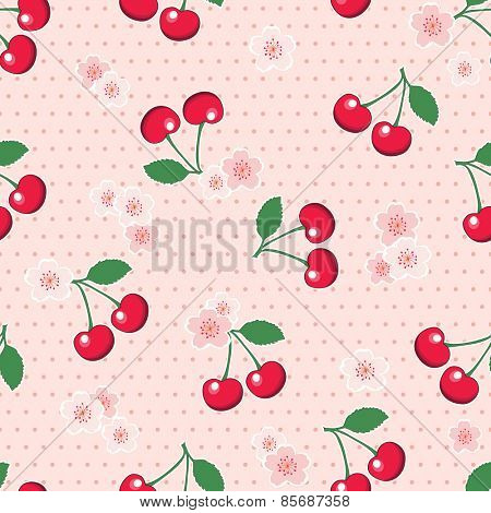 Sweet, red cherries with blossoms, on retro style pink polka dot background. Seamless design.