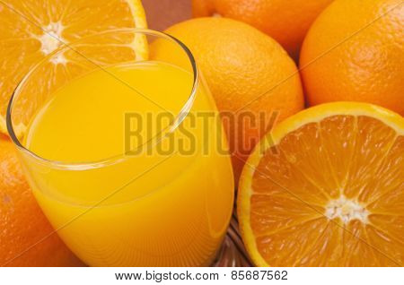 Oranges and jucie - full frame background
