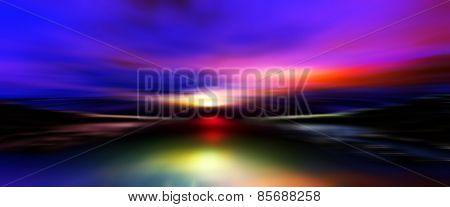 3D illustration of twilight landscape