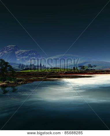 3D illustration of serene landscape