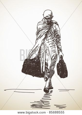 Sketch buddhist monk walking with travel bags, Hand drawn Vector illustration