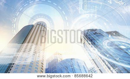 Digital image of bottom view of tall skyscraper