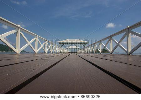 Wood Bridge And Wood Pavilion