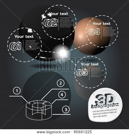 Infographics 3D With Mirror Balls With Reflection