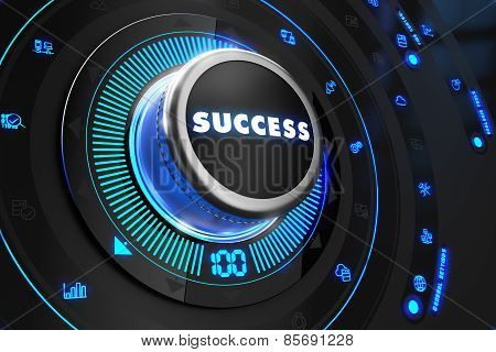 Success Button with Glowing Blue Lights.